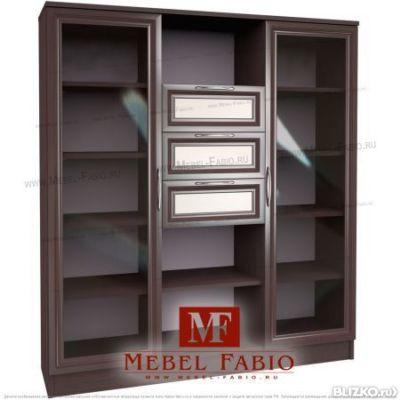 Комод-шкаф библиотека шк-10 fabio - со стеклом - цвет венге-.