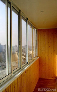 Остекление балконов алюминиевыми раздвижными рамами(2,5м-3,0.