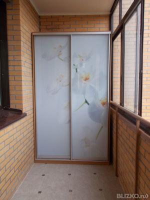 """Шкаф- купе белый """"орхидеи"""", двухстворчатый, для лоджии в нов."""
