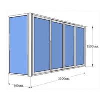 Остекление балкона пластиковое Rehau Solar пятикамерный двухстворчатый