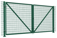 Ворота распашные Гардис со столбами на фланцах. 4000*2100