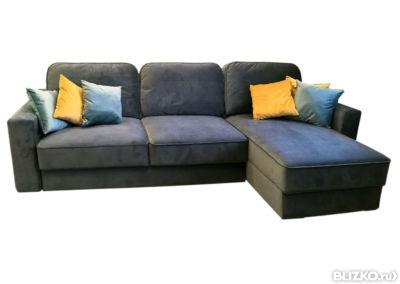 угловой диван даллас 2 синий четырехместный от компании 100мебель